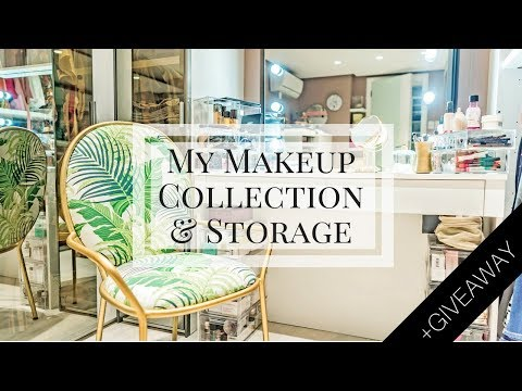 My Makeup Collection and Storage 2017 + GIVEAWAY | Camille Co