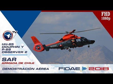 Ensayo Demostración SAR Armada de Chile con HH-65 Douphin y P-68 Observer 2 en FIDAE 2018