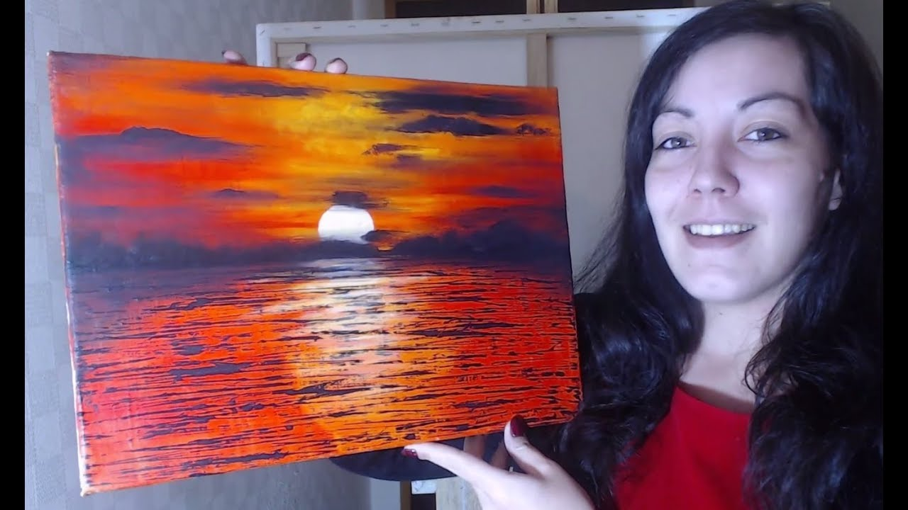Océan Rouge Peinture Acrylique Facile Youtube