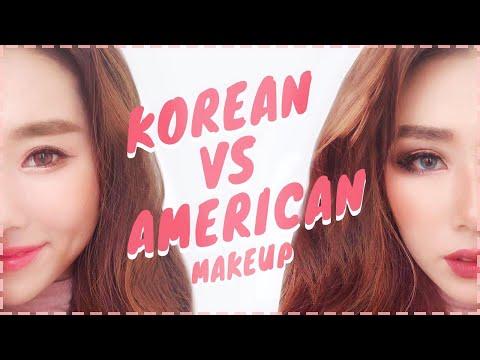 KOREAN MAKEUP VS AMERICAN MAKEUP TUTORIAL | MONGABONG