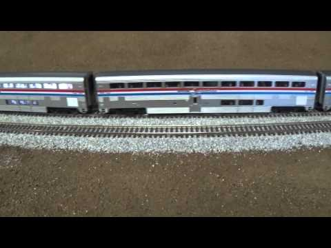 HO SCALE DCC AMTRAK TRAIN WITH LIGHTED PASSENGER CARS MODEL TRAINS