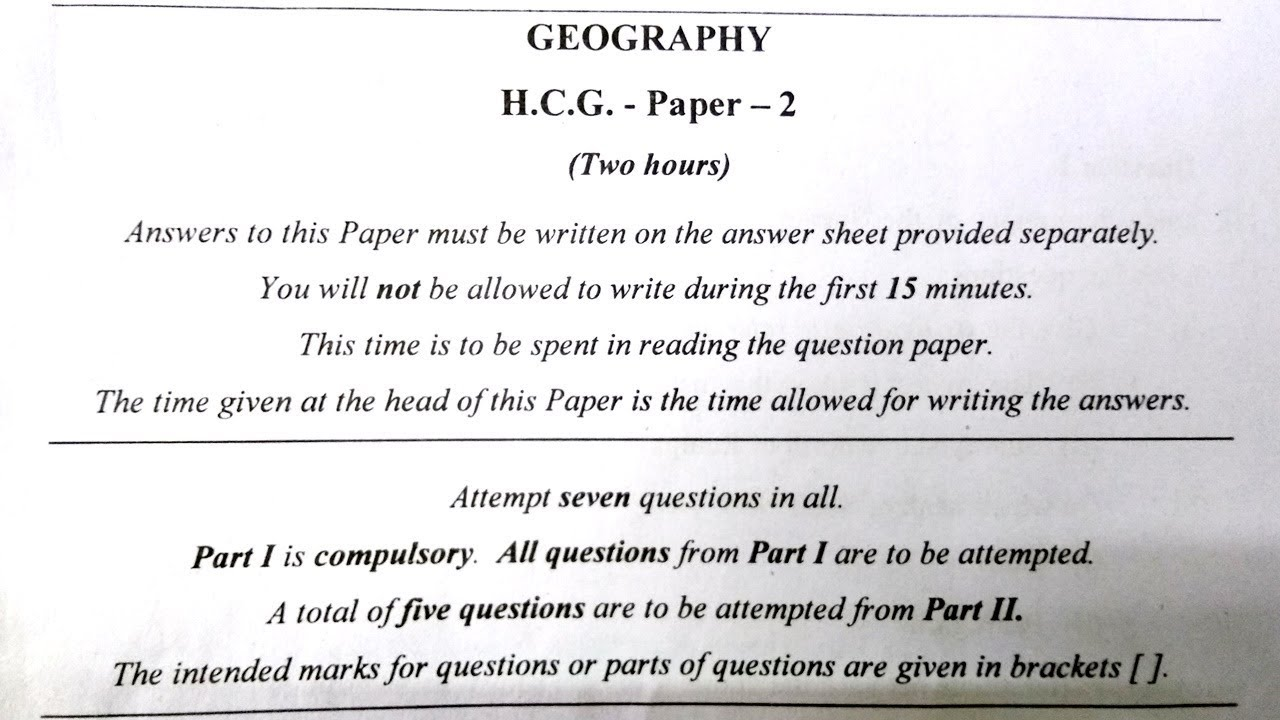 ICSE Geography 2017 Solved Question Paper