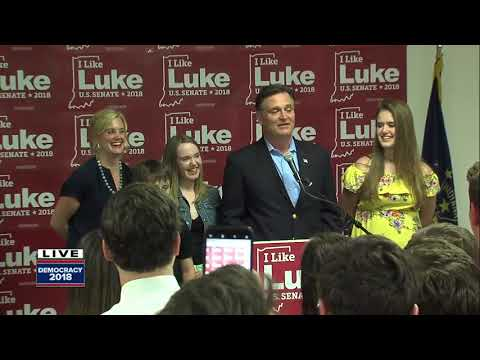 Luke Messer addresses supporters, conceding to Mike Braun in Indiana's GOP Senate race