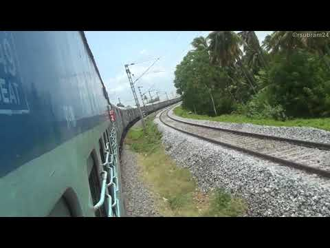 Trains crossing flooded Kaveri river (2018)