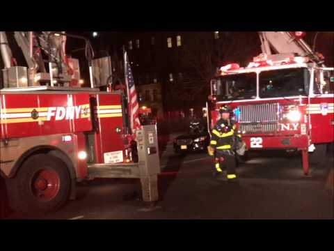 (READ DESCRIPTION) - FDNY BATTLES SMOKEY 4TH ALARM FIRE ON AMSTERDAM AVE. ON WEST SIDE OF MANHATTAN.