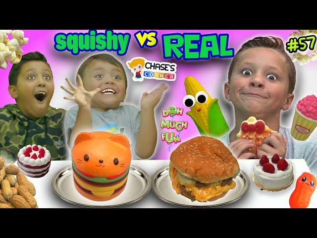 SQUISHY FOOD vs REAL FOOD Challenge! Chases Corner #57 || DOH MUCH FUN