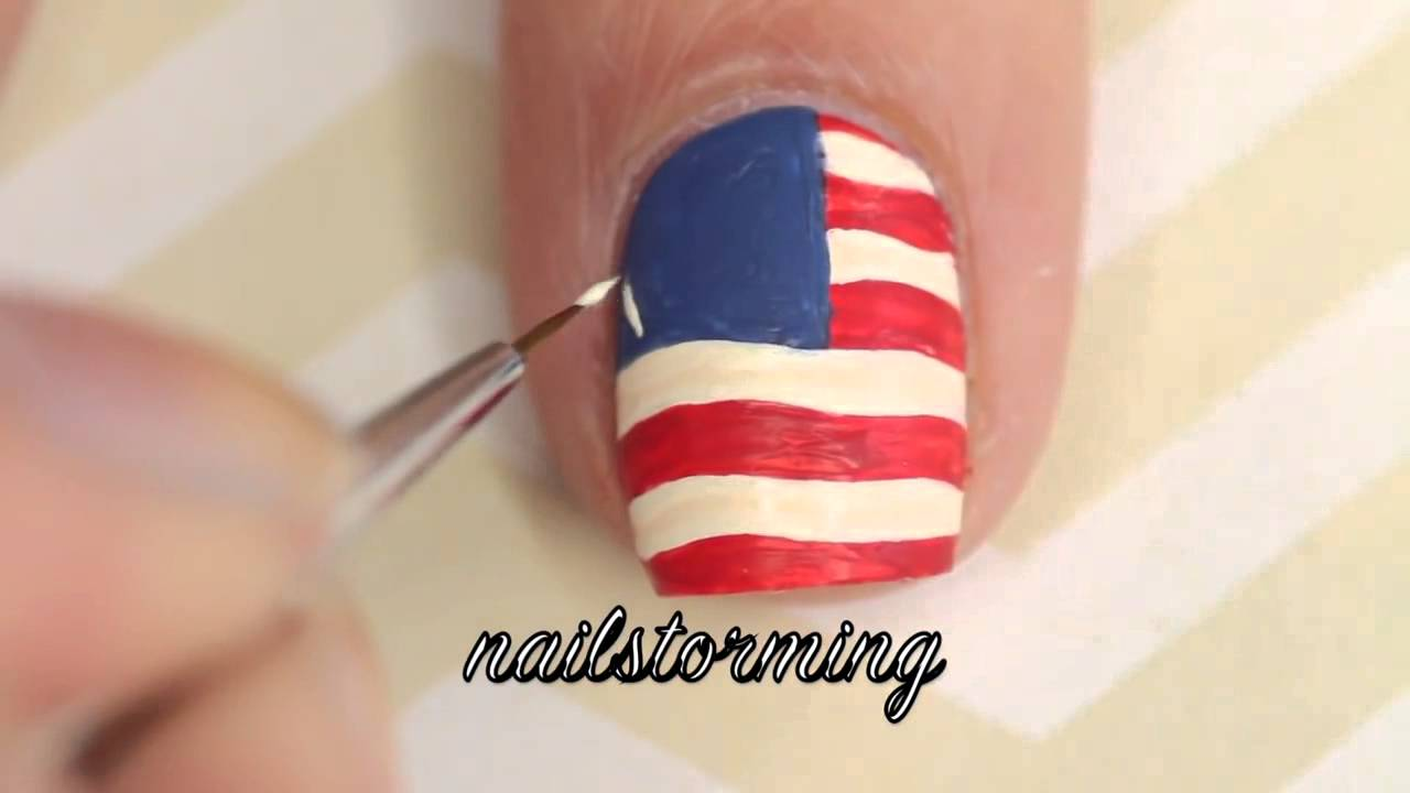 nail art tutorial american flag