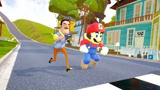 NEIGHBOR VS MARIO RACES - Hello Neighbor