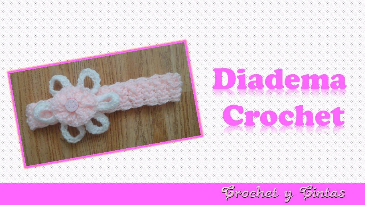 Diadema tejida a crochet ganchillo con flor youtube - Diademas a crochet ...