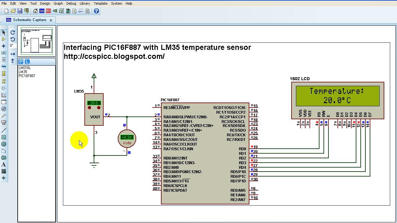 Temperature Sensor Circuit Diagram Using Lm35   Pic16f887 Lm35 Temperature Sensor Proteus Simulation Youtube
