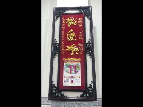 Lịch đẹp | Khung lịch bằng gỗ | Chữ Phúc Lộc Thọ treo tường - kho tư liệu xây dựng