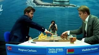 Magnus Carlsen (2872) vs Vladislav Kovalev (2660)    Tata Steel Chess 2020  - R10