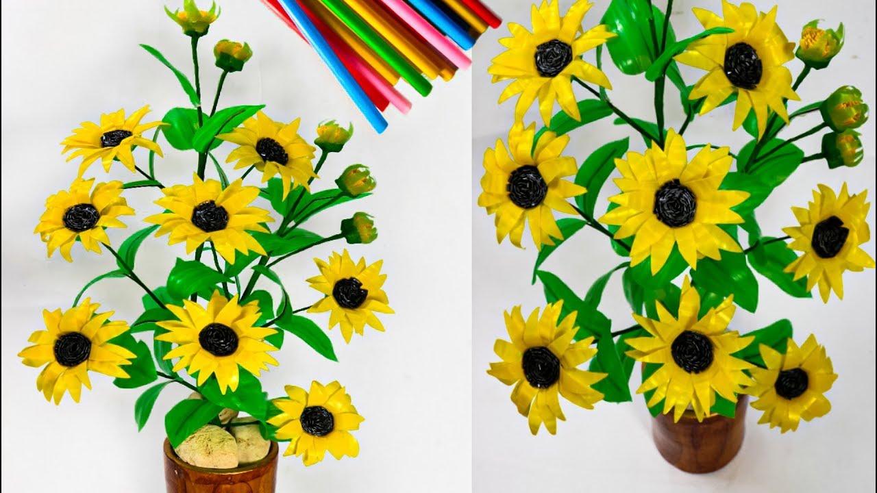 Cara Membuat Bunga Matahari Hias Dari Sedotan Kreatif Beautiful Sunflower With Straws Youtube