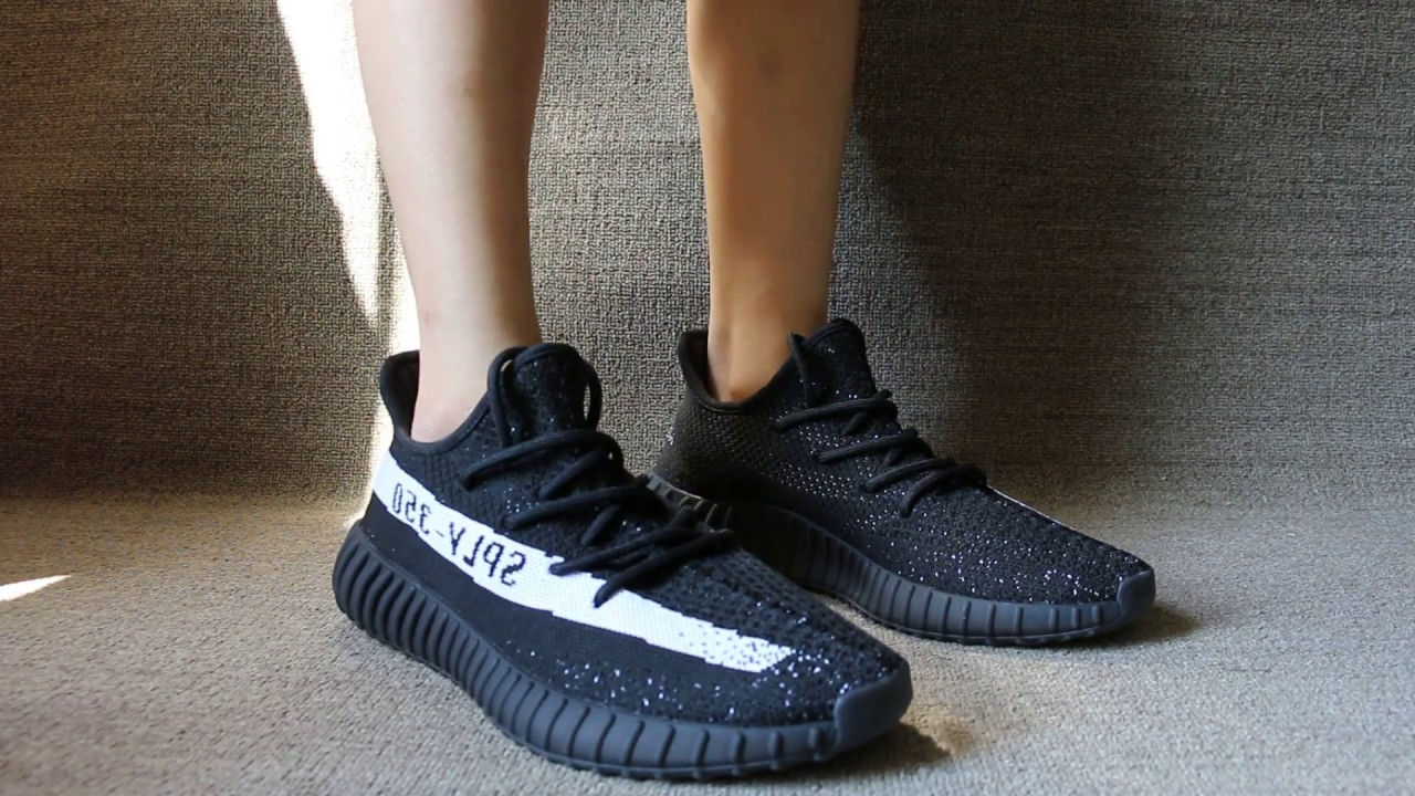 Adidas Yeezy 350 v2 Boost Black / White HD On Foot Review