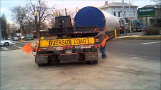 Enormous trailer with section of wind turbine base on it. [Part one]