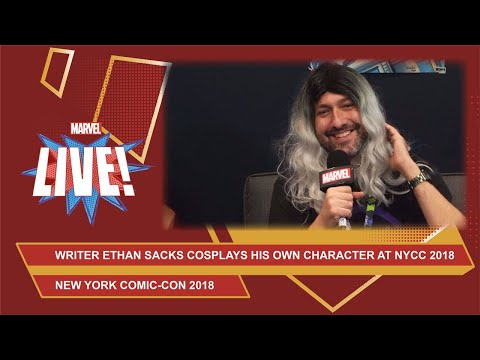 What If? Thor writer Ethan Sacks, dressed as Old Man Hawkeye, hits the Marvel LIVE booth @ NYCC 2018