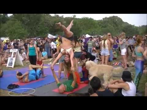 Eeyore's Birthday Party 2014 Acro Yoga, Spinning Poi, Magic Balls, and Hula Hoops