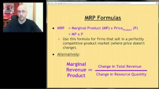 AP Micro: Unit 7 Screencast 1 - Introduction to Resource Markets: MRP and MRC