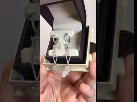0.55 Ct. Diamond Drop Dangle Triangle Earrings White, Yellow, or Rose Gold 14k