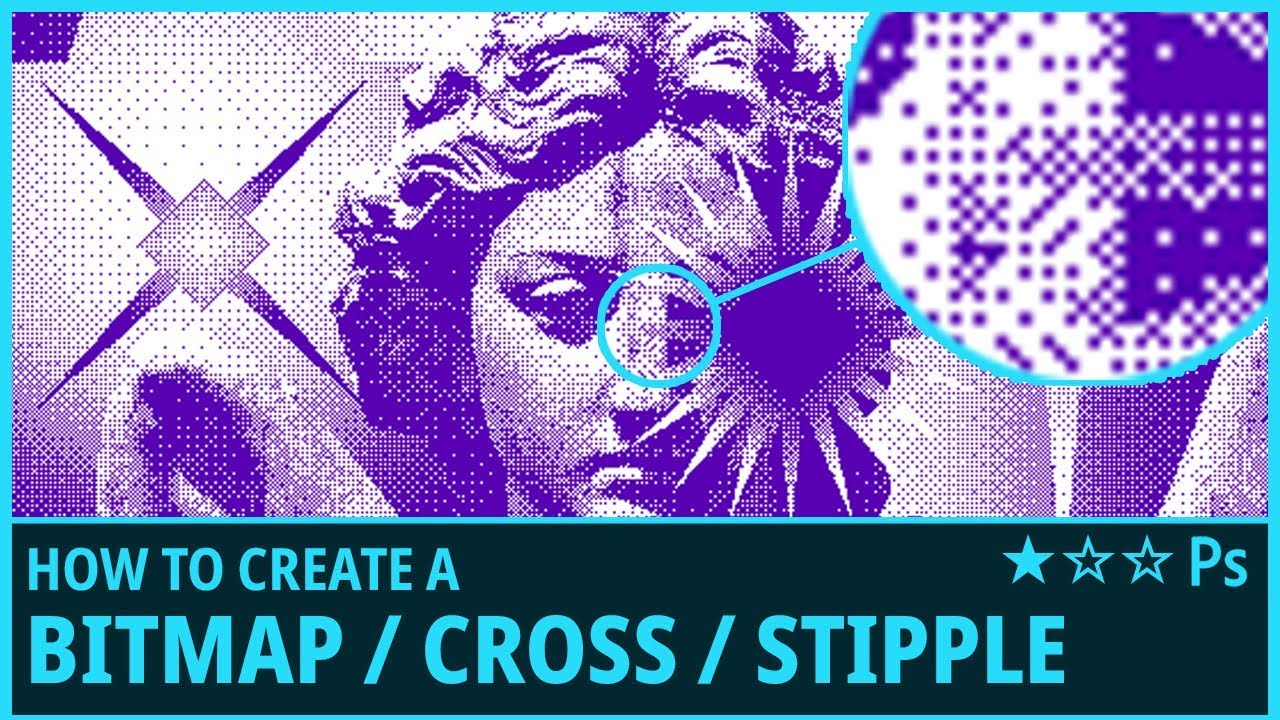 How to Create a Bitmap / Cross / Stipple Effect from Images in Photoshop -  (Bitmap Mode, Cross)