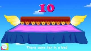 Ten In The Bed Nursery Rhyme With Lyrics - Animation Songs For Children