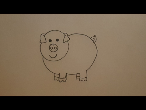 Tutorial como dibujar un cerdo para ni os paso a paso hd for Comedor facil de dibujar