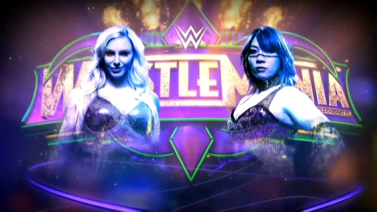 WWE Wrestlemania 34: Charlotte Flair vs Asuka Official Match Card ...