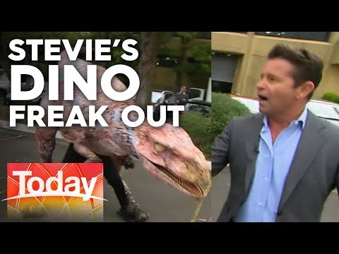 Stevie Hilariously Flees Dinosaurs In Channel Nine Car Park | Today Show Australia
