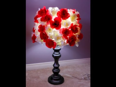 Diy flower lampshade theeasydiy roomdecor youtube mozeypictures Gallery