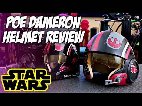 $80 Star Wars Poe Dameron Black Series Electronic X-Wing Pilot Helmet Review | Unboxing