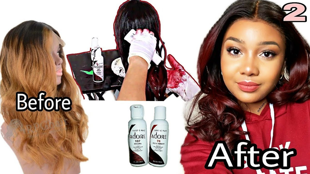 How To Dyecolor A Wig Easy My 1st Time With Colored Hair Youtube