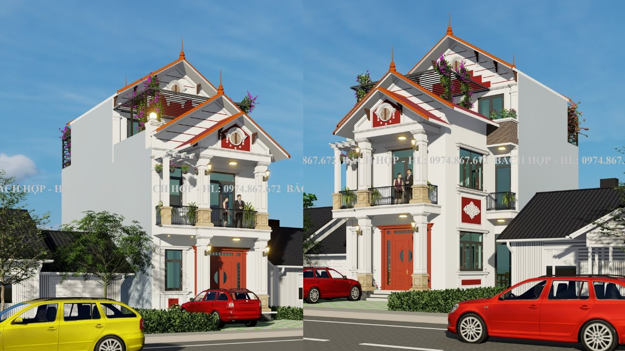 image Biệt thự mái thái đẹp 3 tầng 7x20m được Nhà đẹp Bách Hợp thiết kế cho anh Sơn tại Gia Viễn Ninh Bình