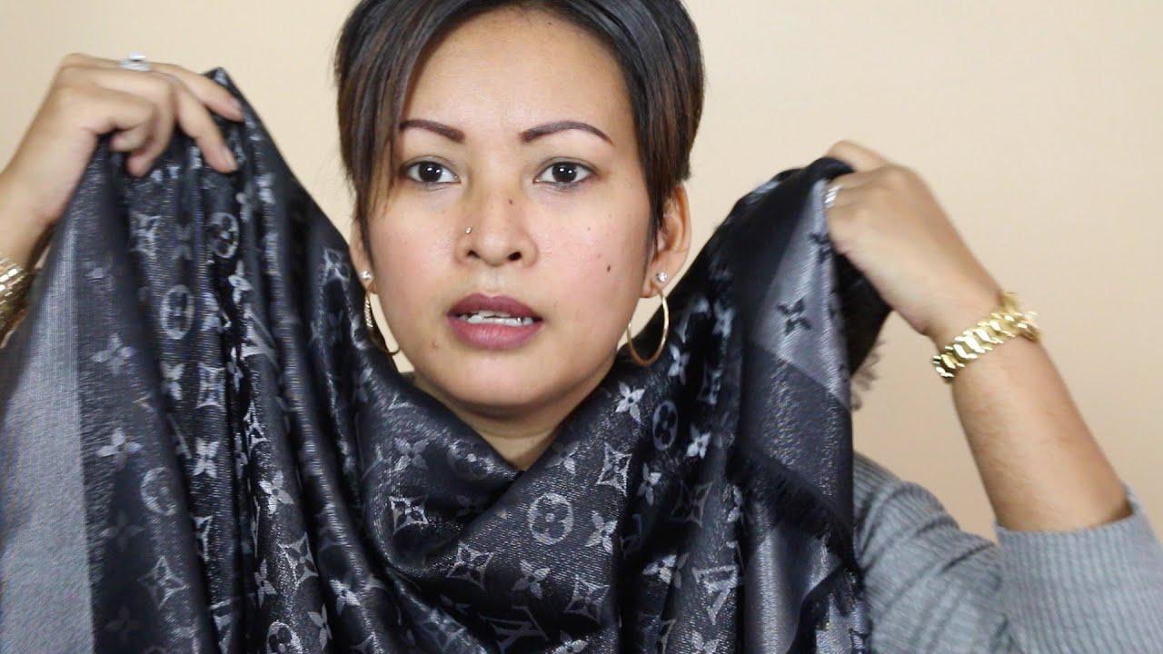 louis vuitton black shine shawl