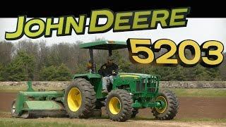 john deere 5203 tractor with landscaping power rake