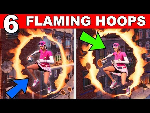 Jump Through All 6 FLAMING HOOPS - (Downtown Drop Challenge Guide) Fortnite Battle Royale