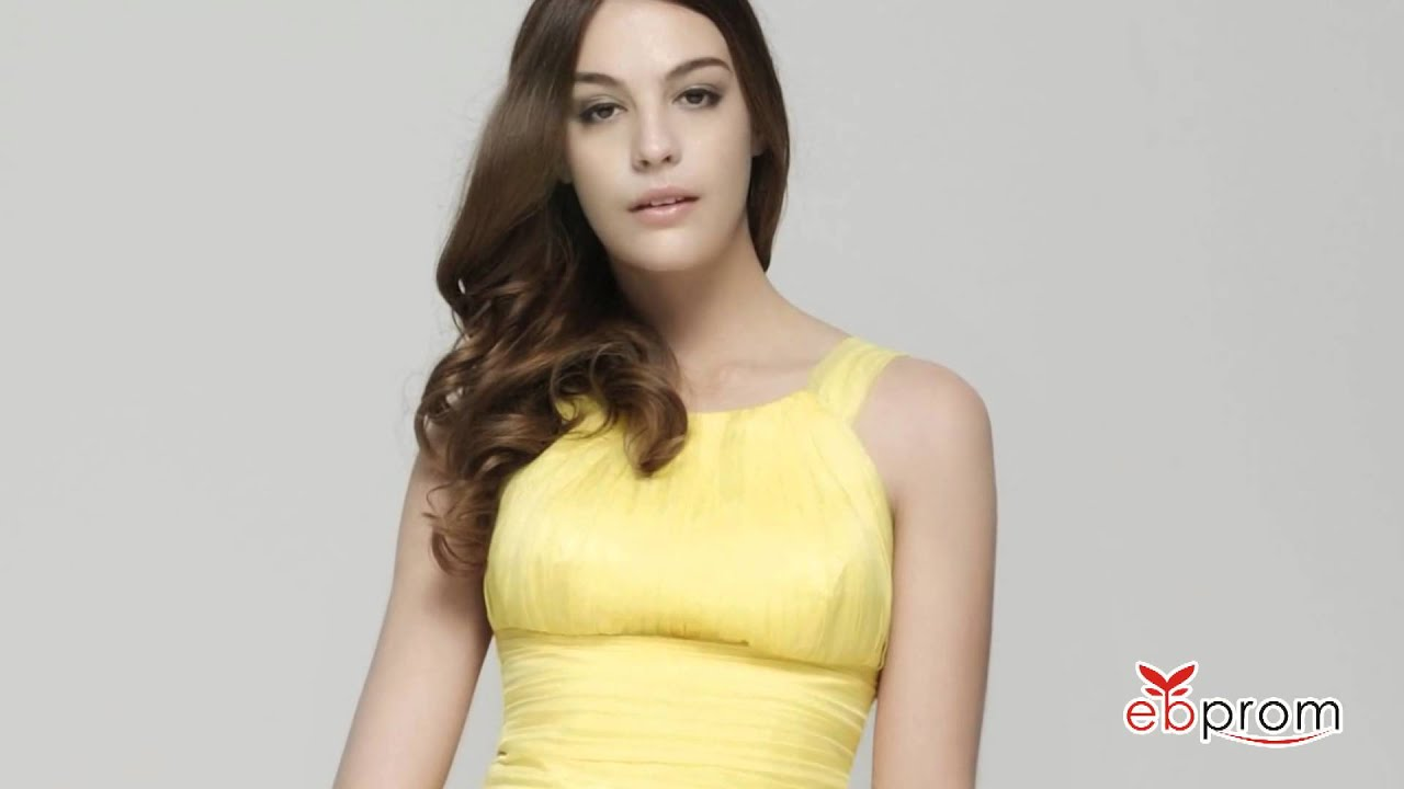 f8b2534dee8 Yellow chiffon long prom dresses - YouTube