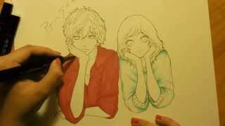 Drawing Futaba and Kou from Ao Haru Ride (Blue Spring Ride)