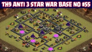 Clash of Clans   Town Hall 9 Anti 3 Star War Base   Layout 55