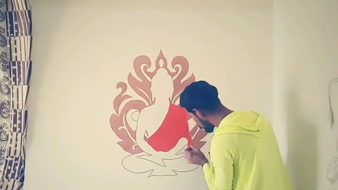 How To Make A Buddha Wall Painting Awesome Wall Painting