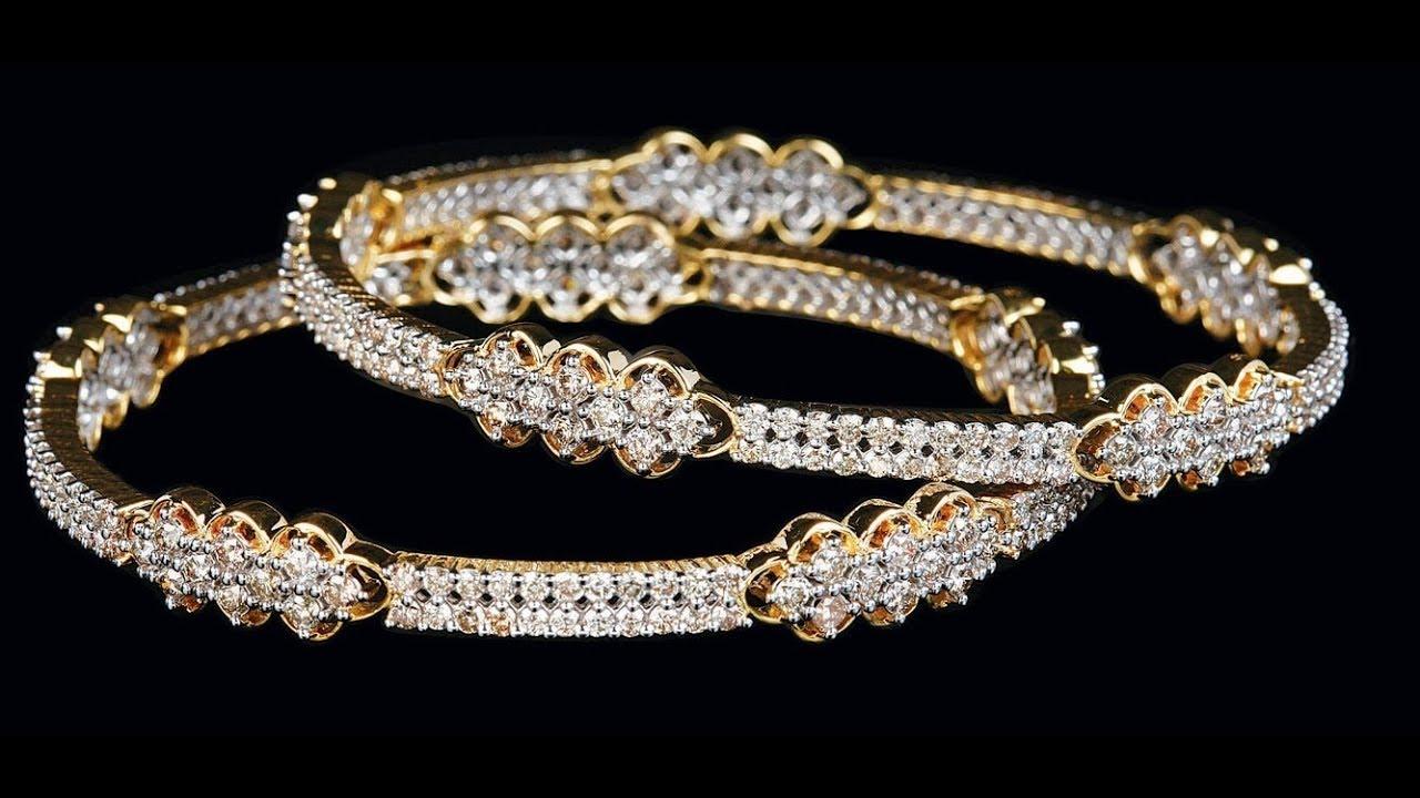 Modern Gold With Diamond Bangle Set Designs Diamond