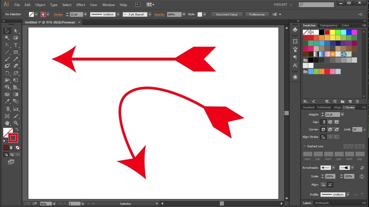 Drawing Smooth Curved Lines In Illustrator : How to draw a curved arrow in adobe illustrator youtube