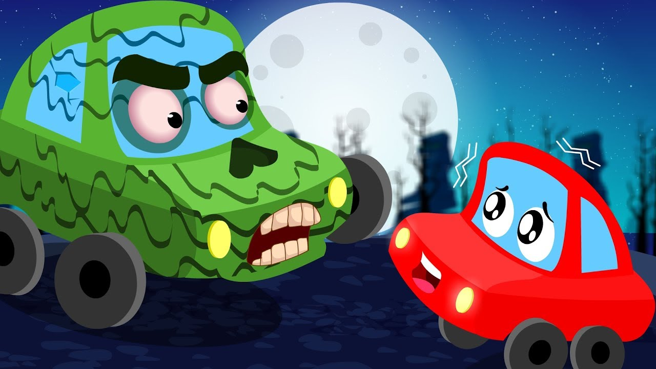 Zombie In The Dark | Little Red Car | Halloween Videos For ...