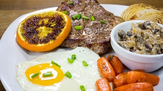СТЕЙК с грибной поджаркой, яйцом и овощами гриль на сковороде iQuick