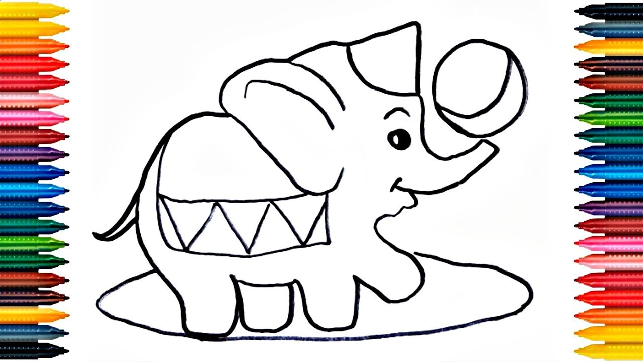 - Drawing For Kids - Circus Elephant Coloring Book - Elephant