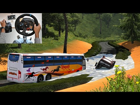 Indian Bus Driver Vs Bad Road | Volvo bus driving | Euro truck simulator 2 with bus mod