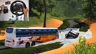 Indian Bus Driver Vs Bad Road   Volvo bus driving   Euro truck simulator 2 with bus mod