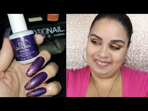 Finally A Nail Art Tutorial Dark Purple Orange Glitter Matte Nails