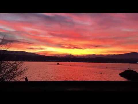 AMAZING SUNRISE ON LAKE GENEVA. Switzerland. Lac Léman Genève Suisse