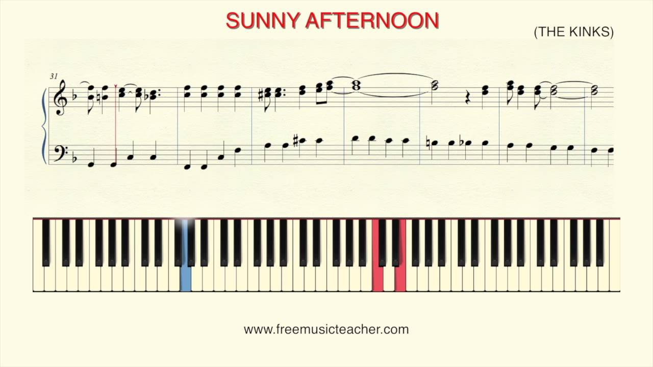 How To Play Piano Sunny Afternoon The Kinks Youtube