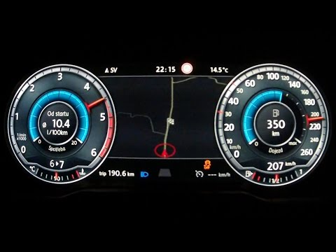 New VW Passat B8 2015 2,0 BiTDI - acceleration 0-210 km/h, digital dashboard